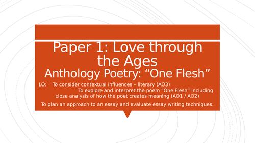 "A Level English Literature ""One Flesh"" by Elizabeth Jennings"