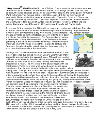 D Day (significance KS3)