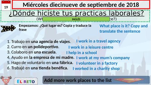 ¿Dónde hiciste tus prácticas laborales? Module 7, Viva