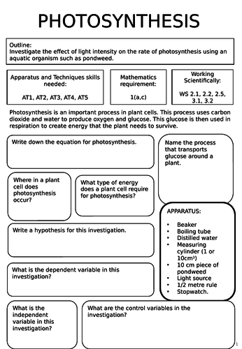 Photosynthesis required practical worksheets aqa trilogy science photosynthesis required practical worksheets aqa trilogy science biology paper 1 by cal w11 teaching resources tes publicscrutiny Images