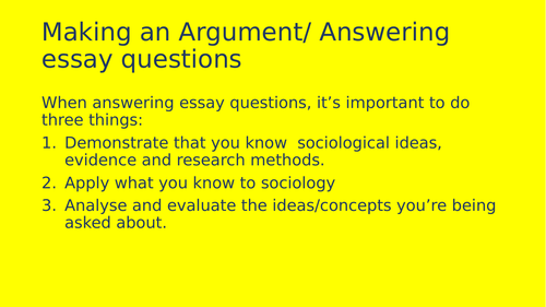 Essay writing AQA NEW SPEC GCSE SOCIOLOGY