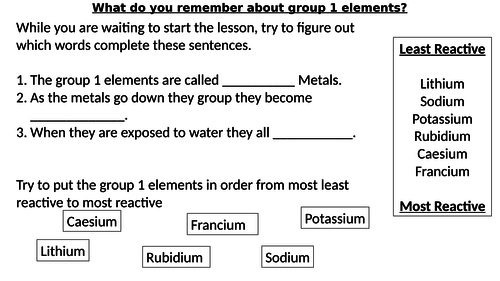 * Full Lesson* Chemistry: Group 7 Elements/Halogens