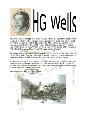 Fact sheet about HG Wells - the prophet of the novel