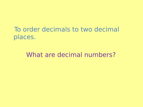 Decimal point numbers PPT