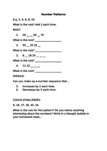 Number Patterns Homework