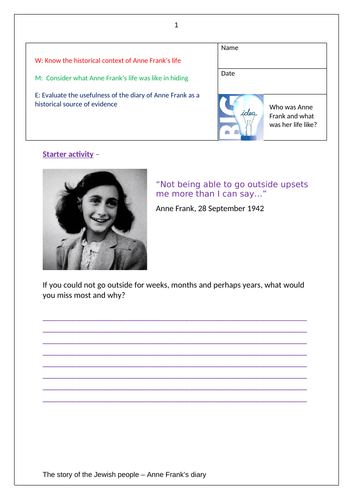 Anne Frank's diary - BBC - 6 - 8 lessons!
