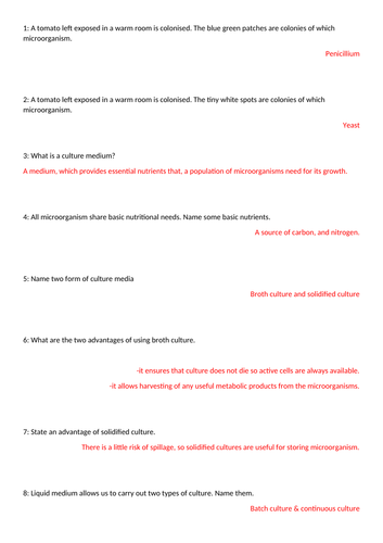 EdExcel A2 Biology: Microbiology: Microbial Techniques : Revision Questions