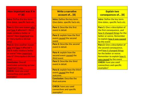 Edexcel GCSE 9-1 History structure strips