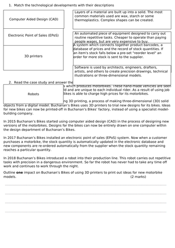 Edexcel GCSE (9-1) Business 2.3 Making operational decisions - Impacts of technology worksheet