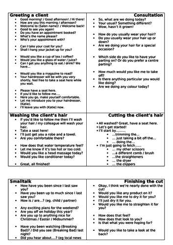 Hairdressing key phrases