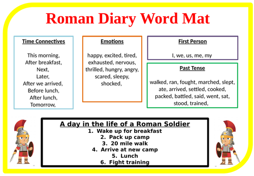 Roman Diary Writing Word Mats - Differentiated