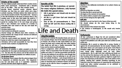 Knowledge Organiser for Life and Death - RS GCSE