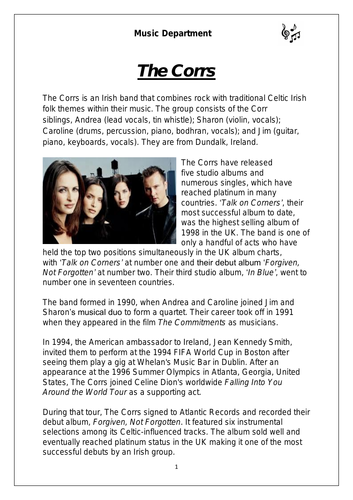 Ks3 Celtic Music Cover Resource - The Corrs