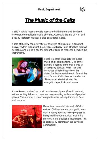 Ks3 Music - Celtic Music worksheet