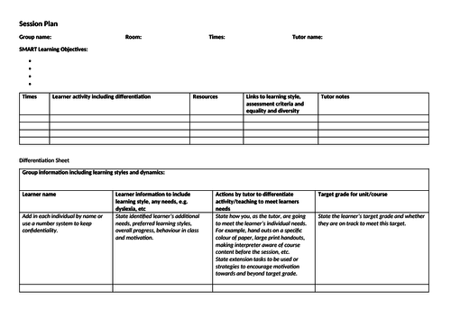 Lesson plan / differentiation sheet template