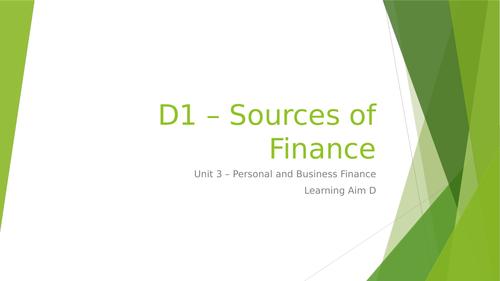 L3 BTEC Business (2016 Spec) Unit 3 Exam - Sources of Finance