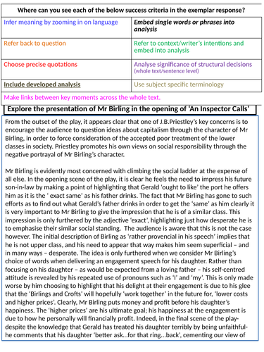 Top Level 'An Inspector Calls' Exemplar Essay: Mr Birling