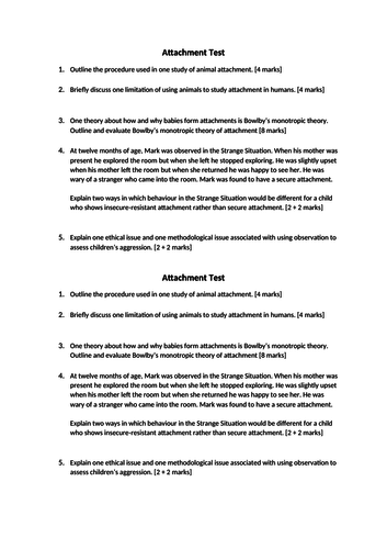 AQA Psychology Attachment: Test on Attachment Topic