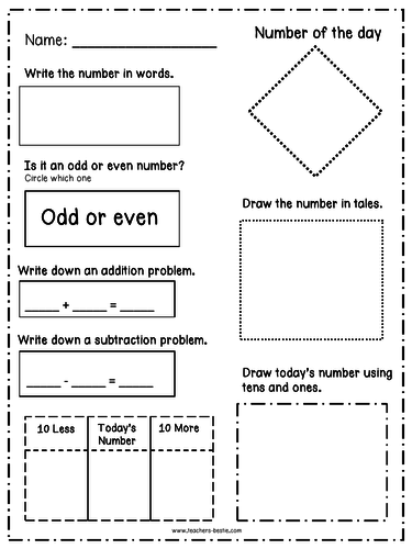 Number of the day {Daily Common Core Maths} Grades 1 -3