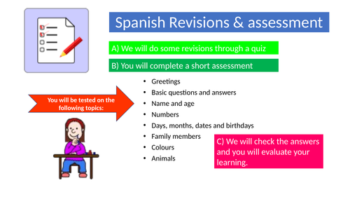 Spanish Basics- Quiz and assessment.