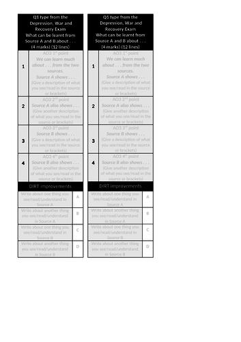 WJEC GCSE (Wales) Unit 1 Structure Strips (New Spec) Elizabeth, Depression, War & Recovery etc.