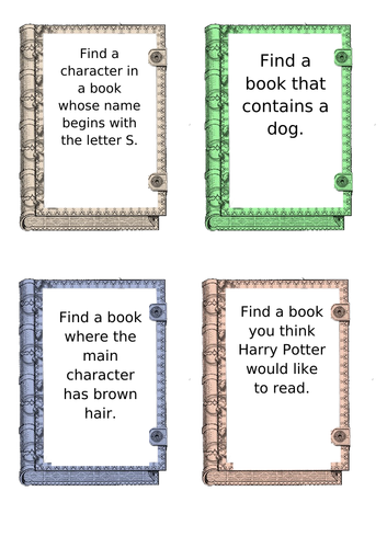 Library challenges (could be a display or for a lesson).