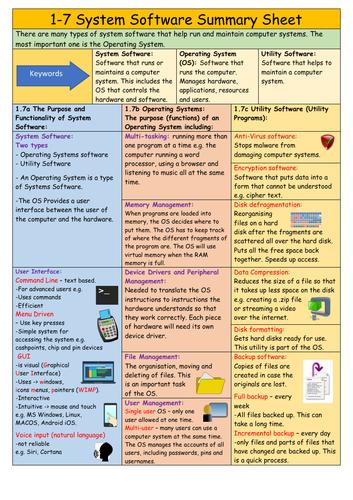 1.7 System Software OCR GCSE Computer Studies Revision helpsheet  / Knowledge Organiser