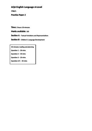 AQA English Langauge A-Level Paper One Practice (2) 7702/1