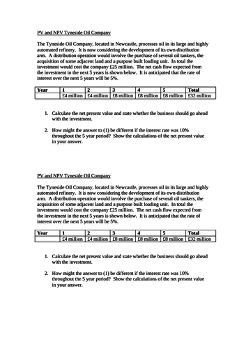 A Level Business. Present Value & Net Present Value (NPV) Investment Appraisal Activity