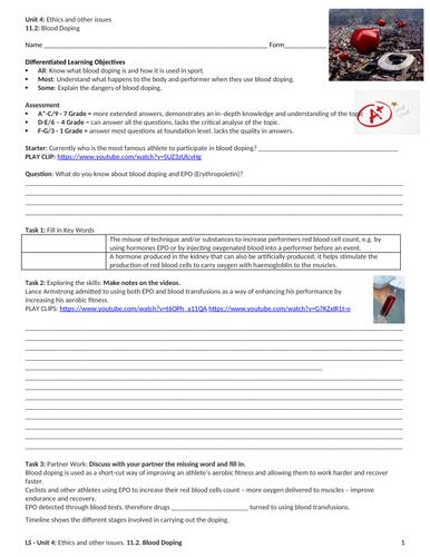 IGCSE PE (new spec 2018) 11 2: Blood Doping