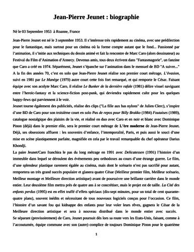 Biographie de Jean-Pierre Jeunet