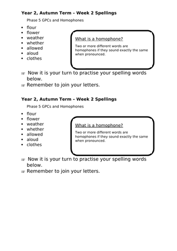 No Nonsense Spellings - Year 2 - Autumn Term - Week 2 Lesson Resources