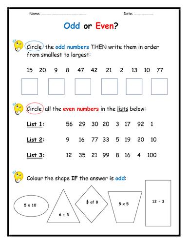 Odd or Even  Worksheet