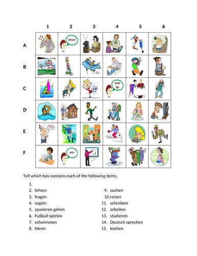 Aktivitäten (Activities in German) Find it Worksheet