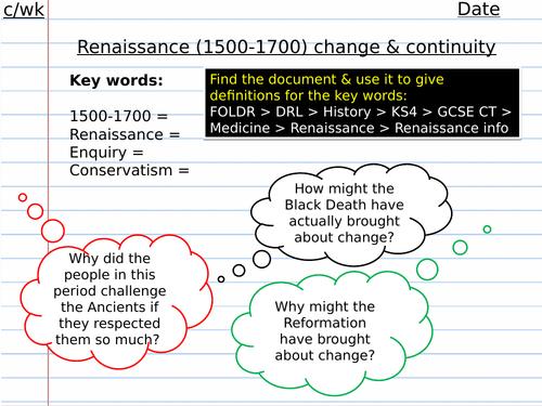 Renaissance medicine introduction/overview lesson