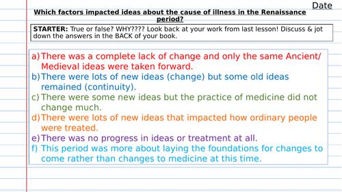 Renaissance: Sydenham, Printing Press & Royal Society - factors affecting ideas about disease