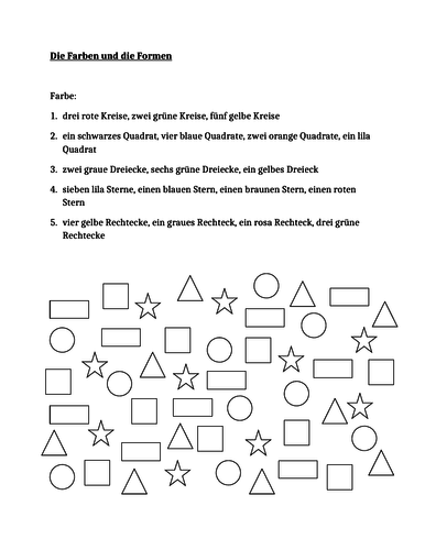 Farben und Formen (Colors and Shapes in German) Worksheet