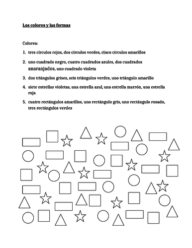 Colores y Formas (Colors and Shapes in Spanish) Worksheet