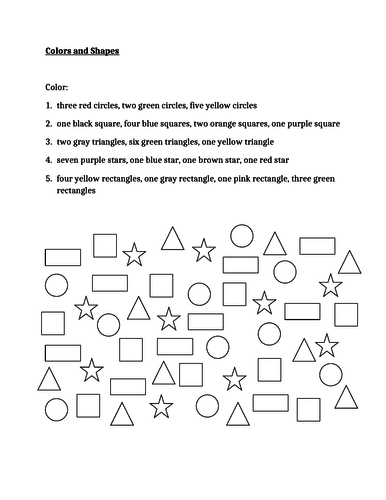 Colors and Shapes in English Worksheet