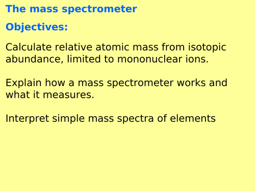 AQA A level Chemistry - Mass spectrometry (Physical chemistry - atomic structure)