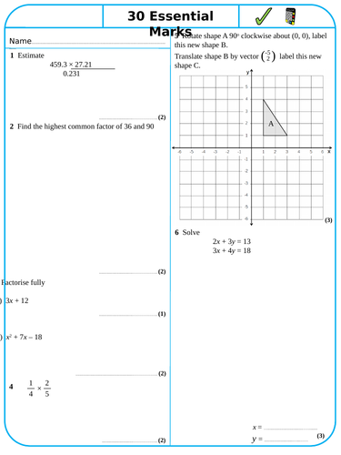 30 Essential Marks - Free Sample - Maths GCSE Revision Sheets - Higher Tier