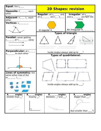 2D Shapes revision sheet