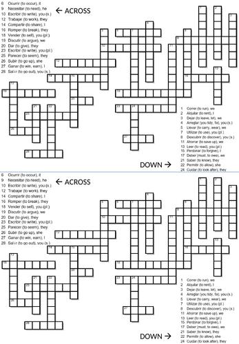 Crossword - Present Tense (Spanish): AR, IR, ER verbs