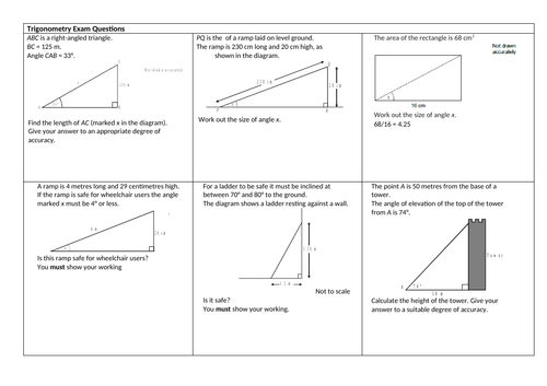 GCSE maths Trigonometry exam questions WITH ANSWERS