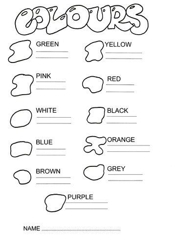 Simple worksheets to practice the colours in English