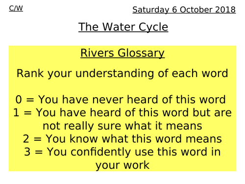 Rivers Lesson 1 - The water cycle