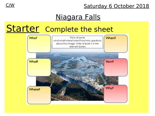Rivers lesson 5 & 6 - Niagara Falla, waterfall assessment