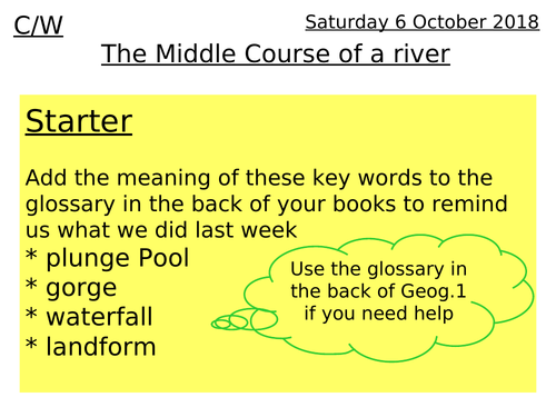 Rivers lesson 7 - The middle course of a river