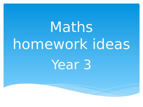 Maths homework ideas Year 3