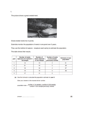 new OCR Biology (9-1)  B6.1 / B6  Monitoring and maintaining  the environment ) resource bundle